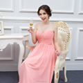 Blush Pink Bridesmaid Dress 2016 Chiffon A-line Maid of Honor Dresses Long