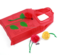 Hot seller colorful rose flower shape nylon shopping bag foldable
