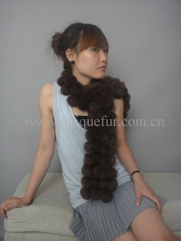 Rabbit fur scarf with 120 balls (MC-S004)