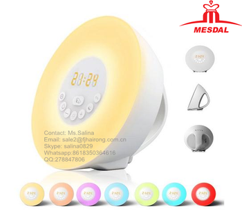 Wake Up Light, 2017 Newest Version Sunrise Alarm Clock with Bluetooth Speaker 7 Colors LED Night Light