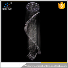 Hotel Lobby Lamp Spiral Crystal Hanging Light Crystal Chandelier
