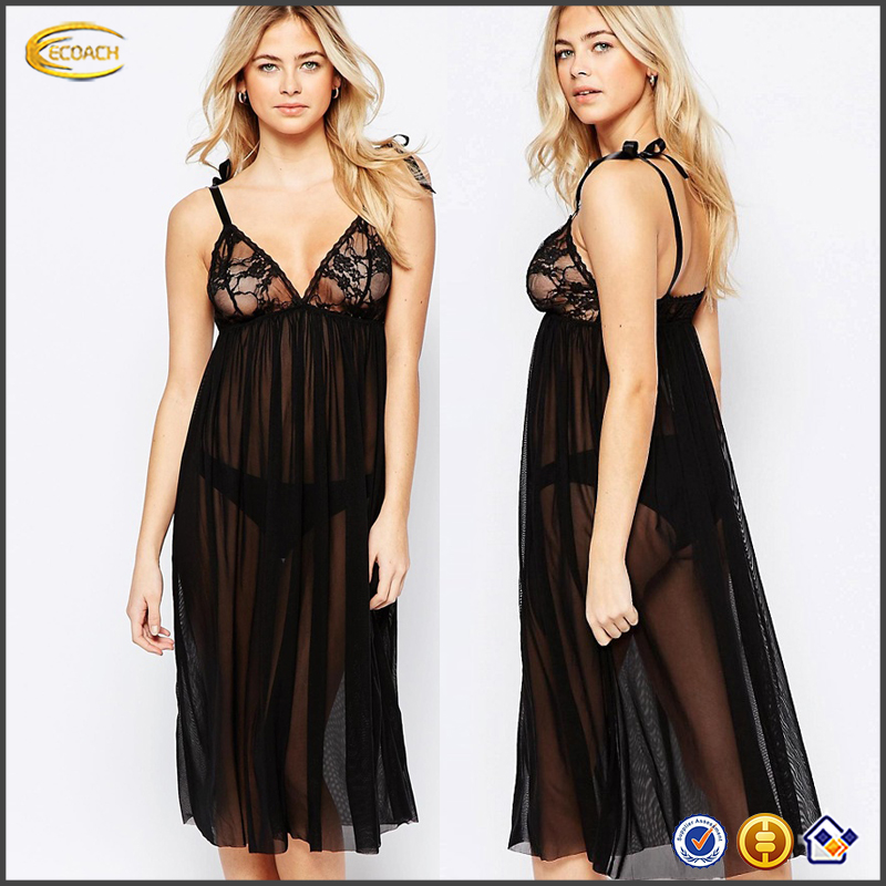 Ecoach Wholesale 2016 Sheer mesh Ribbon tie straps girls dress transparent sexy night dress with Lace triangle cups for girls