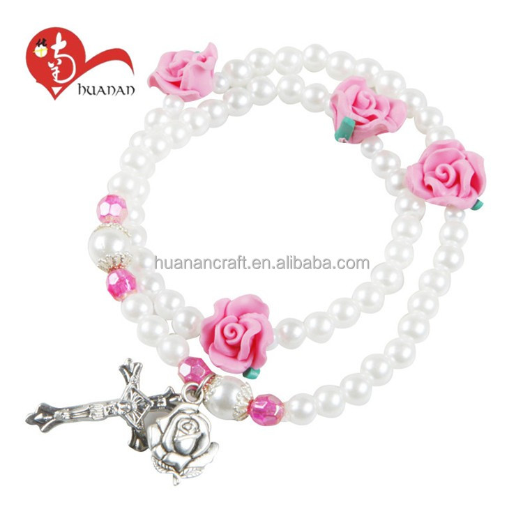 Newest promotional Cross Rosary bead religious plastic with saints bracelets