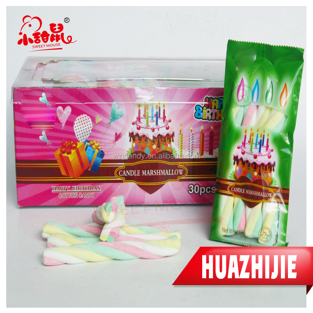 359201610 HALAL candle shape marshmallow twist/cotton candy