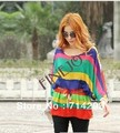 2013 New Bohemian Style Women Lady Color Batwing Sleeve Loose Chiffon Shirt Blouse Tops 12226
