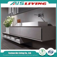 Chinese antique style high gloss laminate wooden bathroom vanity