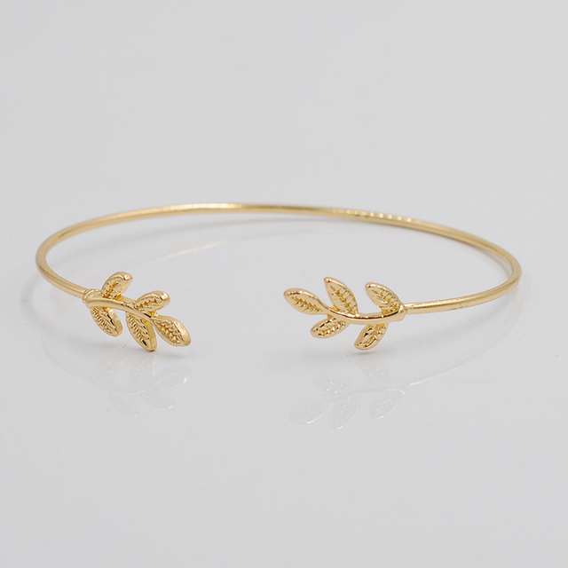2016 Leaves Gold & Silver Plated Bracelets & Bangles Fashion Open Bangle For women cuff bracelet pulseiras pulseira feminina