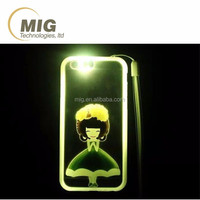 Cute girls use colorful flashing light phone case luminous mobile/ cell phone case/ back cover for iphone 6 6s plus 5 5s