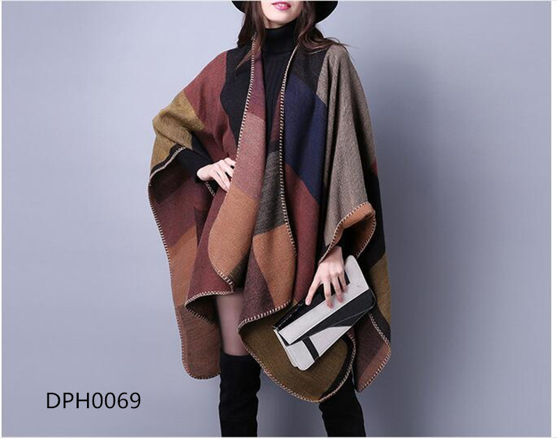 ladies oversize new style women Fashion checked colorful cape shawl