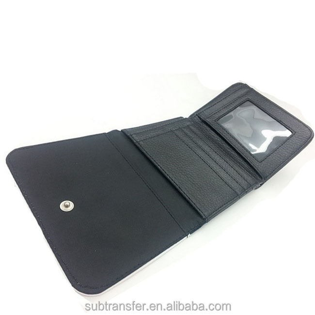 Wholesale custom Black Leather Sublimation Small Wallet