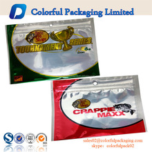 Customized fish food plastic bags logo bass pro shops with ziplock and round hole