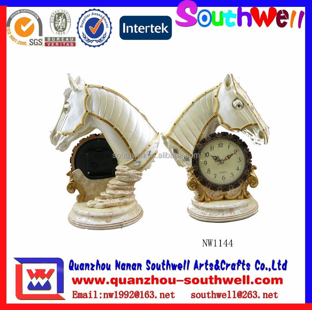 Resin White Horse Clock Head Figurines