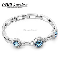 T400 Hand-made Jewelry Fashion Bracelet Made With Swarovski Elements Crystal Ocean Blue Elegance #3391