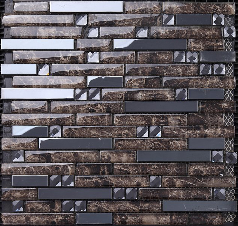 home depot Luster foiled color mosaic tile bathroom glass backsplash 3d floor art