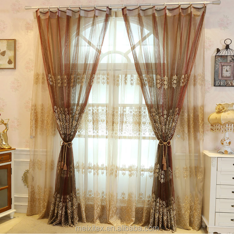 The Latest Sheer Organza Plain Embroidery Window Curtains Design,wholesale cheap embroidered silk stripe organza curtain fabric