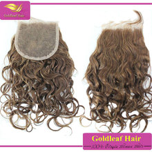 Top quality brazilian human hair Natural wave Cheap light brown lace closure