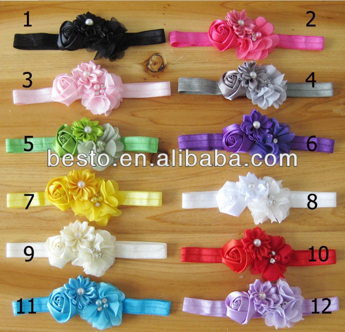 CF 0777 2014 top infant toddler make fabric chiffon knotted satin pearl flower handmade baby headbands