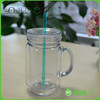 hot sale high quality 20oz double wall plastic mason jar bulk ball mason jars with handle and straw