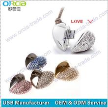Genuine Capacity USB Flash Drive, Heart USB Pen Driver,Jewelry USB flash drive heart