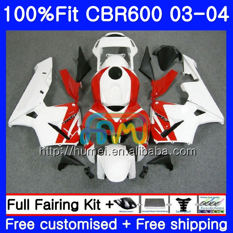 Injection For HONDA CBR 600RR F5 CBR600 RR 03-04 11HM55 white red CBR600RR F5 03 04 CBR600F5 CBR 600 RR 2003 2004 Fairing kit