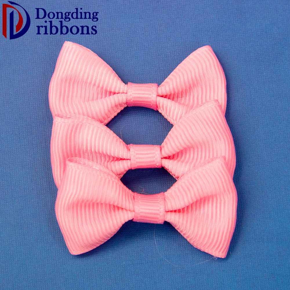 Wholesale fancy decoration pink polyester grosgrain ribbon gift bow