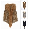 Many Colors Available Women Knit Fur Vest For Plus Size Real Rabbit With Lamb Fur Placket