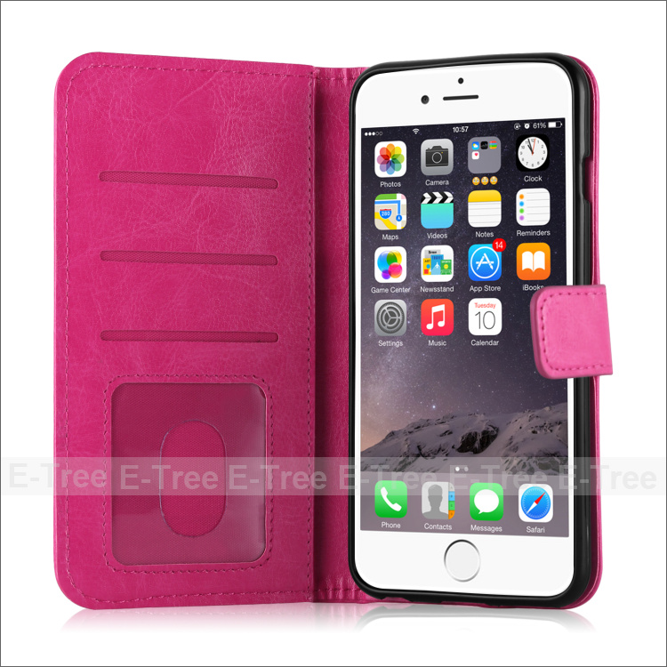 Premium leather wallet flip folio folding stand high quality PU leather case cover with card holders for iphone Case 6 plus