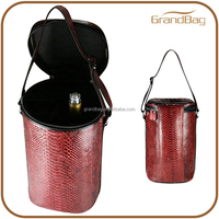 deluxe python leather wine bottle spirits carrier tote case wine bottle case