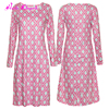 Pink wave round neck long sleeves autumn sexy mature ladies 2017 women dresses