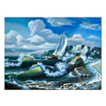 Sailing Boat in the Rough Sea Printed Canvas Breathtaking Seascape Canvas Artwork Wholesale Framed Canvas Painting