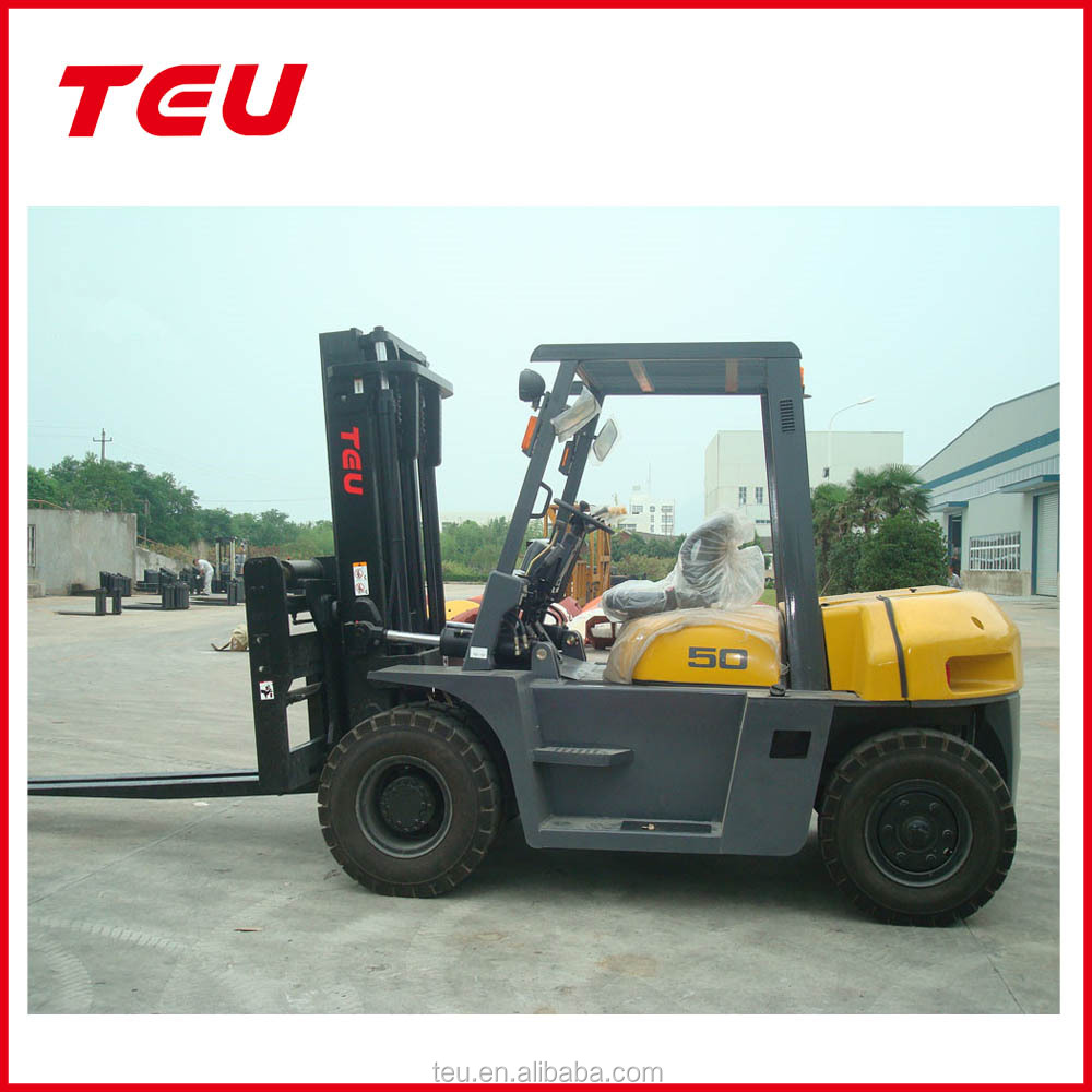 Good price for sale TEU Brand 5ton Diesel Forklift Truck with Japanese ISUZE 6BG1 ENGINE