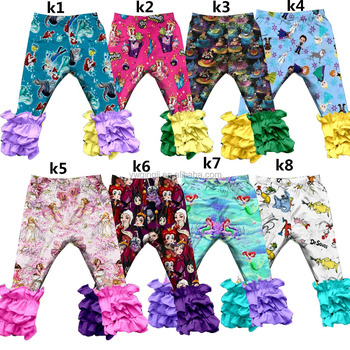 QY-020 2017 Latest wholesale Princess icing leggings for baby girls fall boutique clothing childrens cotton icing ruffle pants