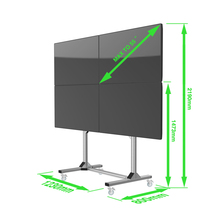 Modern Movable Multi-screen Mobile 2x2 3x2 LED TV Cart Floor Stand with Wheels