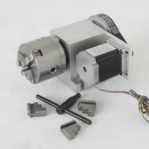 cnc dividing head (4th axis, rotary axis, A axis) for cnc router machine with 80mm 3 jaw