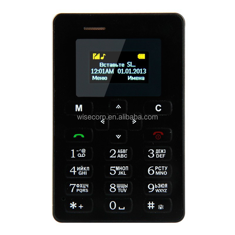 Russian Keyboard AEKU M5 Card Cell Phone 4.5mm Ultra Thin Pocket Mini Phone Quad Band Low Radiation AEKU M5 Card mobile Phone