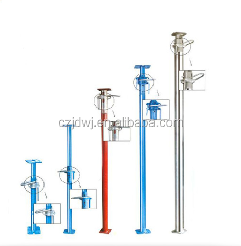 Adjustable steel shoring props for scaffolding