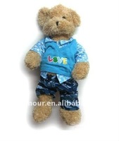 Plush Teddy Bear with sportshirt and jeans