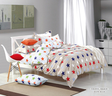 cute five-pointed star brand name bed sheets 100% cotton pigment printing bedding set