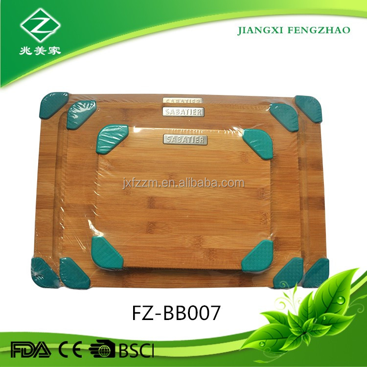 Non-Slip Silicone 3 Pieces Bamboo Cutting Board Set L, M and S Kitchen Cutting Boards for Bread, Vegetables, Fruit,Cheese