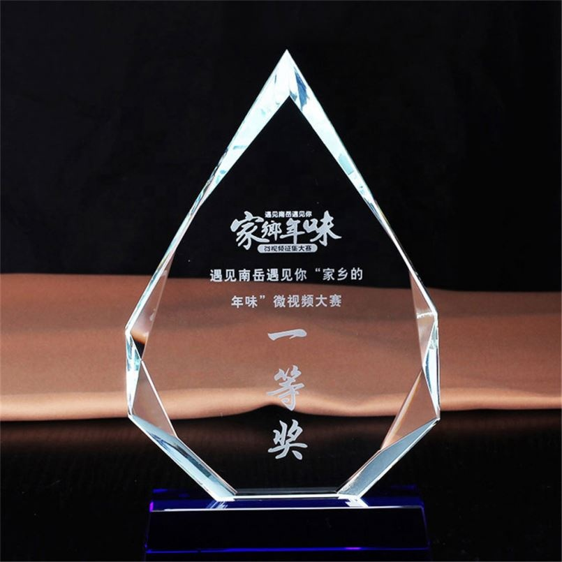 Hot Sale Souvenir Ping pong paddle star torch vase crystal glass trophies and medals