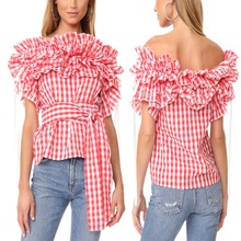 Plaid Ladies Tops Latest Design For Women Clothing Manufacturer Dongguan