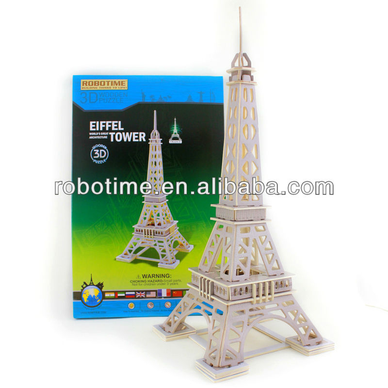 3D DIY Educational Wooden Puzzle Toy France Eiffel Tower