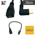 Gold-plated 90 25cm USB3.1 Type C Left/Right angle Male To Micro USB 2.0 5P Female Data Angled Adapter Cable For Nexus 5X 6P