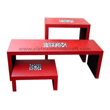 Best quality hand finished Vietnamese red & black lacquer bamboo console tables with mother of pearl inlay