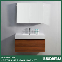 wall hung bathroom cabinet with wood grain