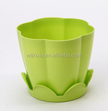 Small Colorful Plastic Flower Planter Pot with Tray Home Office Garden Decor