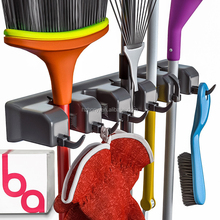 Broom Holder and Garden Tool Organizer for Rake or Mop Handles Remove Clutter Closet Garage Organization System