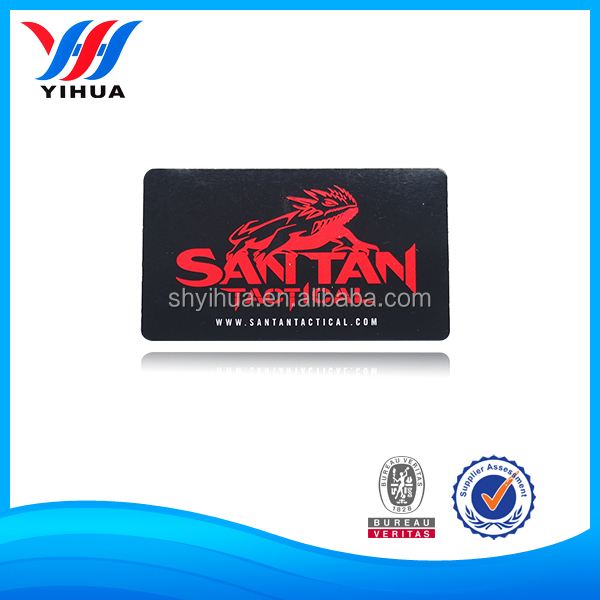 Red Logo And White Word Printed On Black Background Aluminum Nameplate