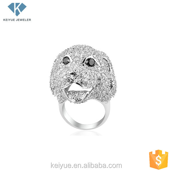2016 OEM Classic Introduction succinct cute dog silver rings for men