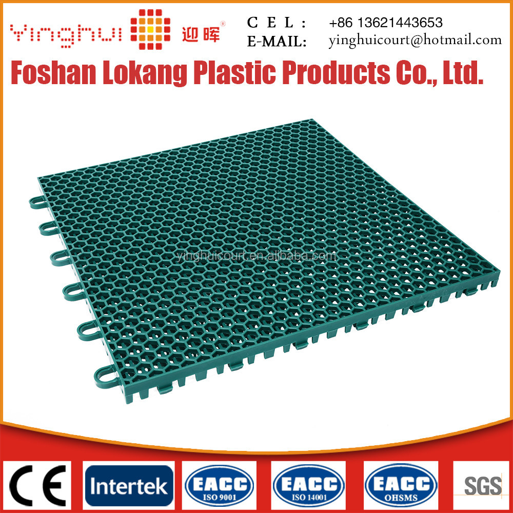 Plastic floor tiles interlocking